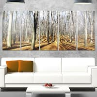 Designart 'Shade from Sun in Autumn Forest' Modern Forest Glossy Metal Wall Art