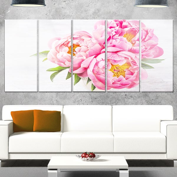 Designart \'Bunch of Peony Flowers In Vase\' Floral Glossy Metal Wall ...
