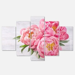 Designart 'Bunch of Peony Flowers In Vase' Floral Glossy Metal Wall Art (2 options available)