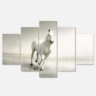 Designart 'Beautiful White Horse Running' Extra Large Animal Metal Wall Art