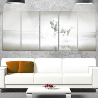 Designart 'White Horse Running in Water' Extra Large Animal Metal Wall Art