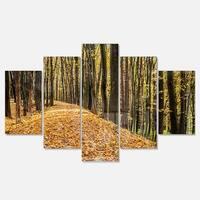 Designart 'Dense Autumn Forest Woods' Modern Forest Glossy Metal Wall Art