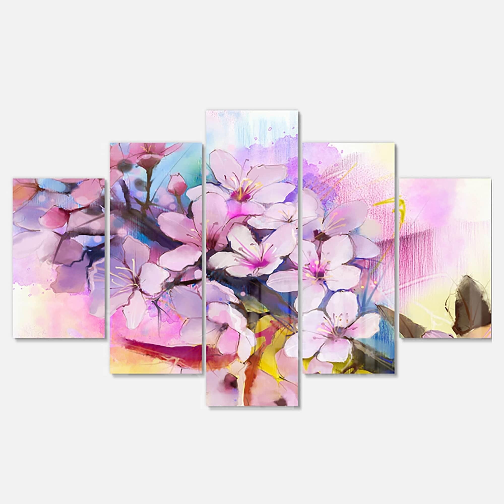 Designart 'Japanese Cherry Blossoms Watercolor' Flower Gl...