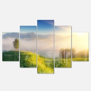 Designart 'Morning Mist over Mountain Village' Extra Large Landscape Glossy Metal Wall Art
