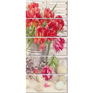 Designart 'Tulip Flowers and Easter Eggs' Floral Glossy Metal Wall Art