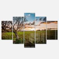Designart 'Sunset in Sardinia Grassland' Extra Large Landscape Glossy Metal Wall Art