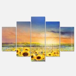 Designart 'Sunset over Golden Sunflower Field' Flower Glossy Metal Wall Art Artwork