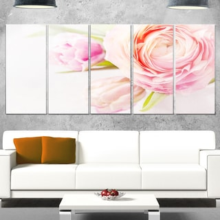 Designart 'Full Bloom and Blooming Flowers' Floral Glossy Metal Wall Art