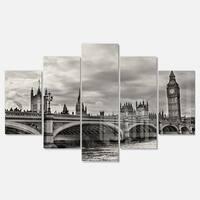 Designart 'Wonderful View of Westminster Bridge' Large Cityscape Wall Art Glossy Metal Wall Art