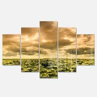 Designart 'Beautiful View of Sky and Moss' Large Landscape Glossy Metal Wall Art