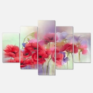 Designart 'Watercolor Red Poppy Flowers Painting' Large Floral Glossy Metal Wall Artwork