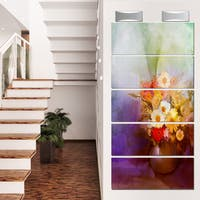 Designart 'Bouquet of Small Flowers Watercolor' Large Floral Glossy Metal Wall Artwork