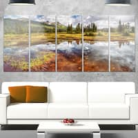 Designart 'Shallow Lake under Cloudy Sky' Extra Large Landscape Glossy Metal Wall Art