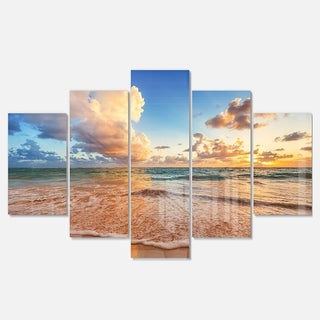 Designart 'Beautiful Cloudscape over Beach' Large Beach Glossy Metal Wall Art (2 options available)