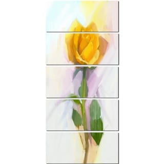 Designart 'Rose With Green Leaves Painting' Large Floral Glossy Metal Wall Artwork