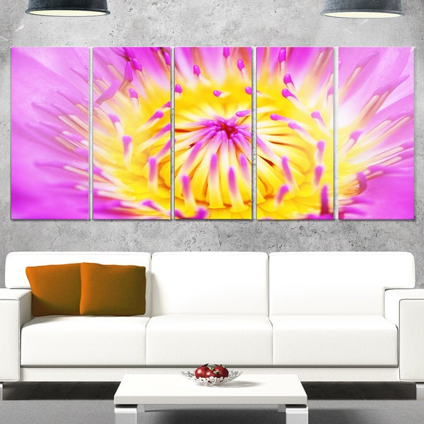 Designart \'Pink Yellow Abstract Lotus Flower\' Flowers Metal Wall Art ...