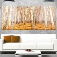 Designart 'Dense Birch Forest in the Fall' Large Forest Glossy Metal Wall Art