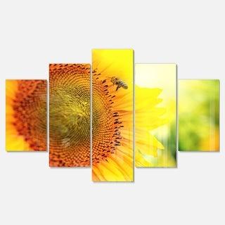 Designart 'Sunflower Blooming on Field' Large Animal Metal Wall Art