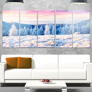 Designart 'Amazing Winter Sunrise in Mountains' Large Landscape Art Glossy Metal Wall Art