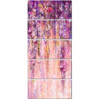 Designart 'Pink and Violet Flowers Watercolor' Large Floral Glossy Metal Wall Artwork