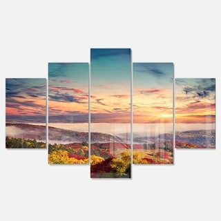 Designart 'Colorful Sunset in Foggy Mountains' Large Landscape Art Glossy Metal Wall Art
