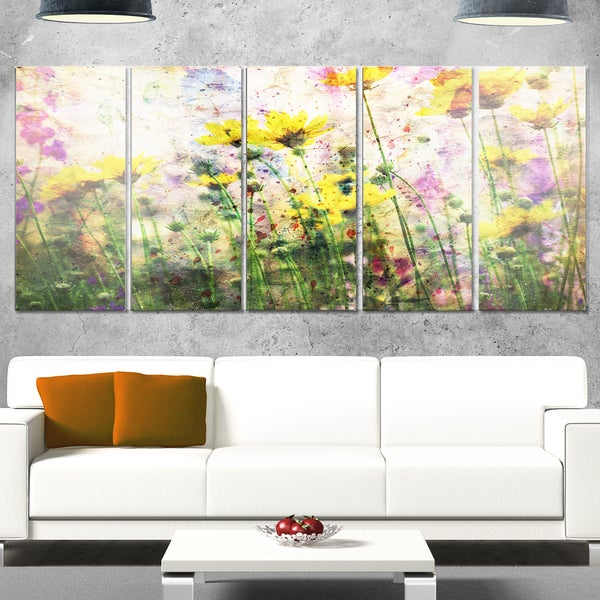 Designart 'Coreopsis Flowers and Paint Splashes' Flower Glossy Metal Wall Art
