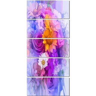 Designart 'Rose Daisy and Gerbera Flowers' Large Floral Glossy Metal Wall Artwork
