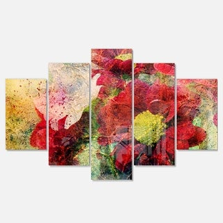 Designart 'Red Flowers and Watercolor Splashes' Flower Glossy Metal Wall Art