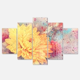 Designart 'Aster Flower with Watercolor Splashes' Flower Glossy Metal Wall Art
