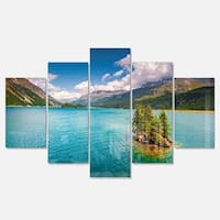 Designart 'Silsersee Lake in the Swiss Alps' Large Landscape Art Glossy Metal Wall Art