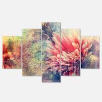 Designart 'Grunge Art with Flower and Splashes' Flower Glossy Metal Wall Art