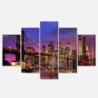 Designart 'Brooklyn Bridge and Manhattan at Sunset' Extra Large Cityscape Glossy Metal Wall Art