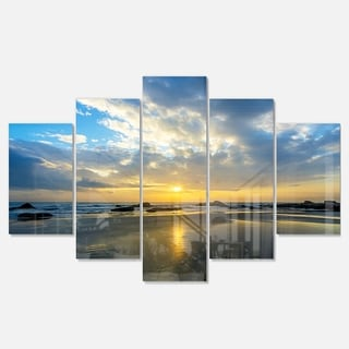 Designart 'Beautiful Sunrise and Seashore' Large Seashore Glossy Metal Wall Art
