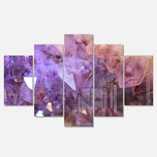 Designart 'Purple White Natural Amethyst Geode' Large Abstract Glossy Metal Wall Artwork