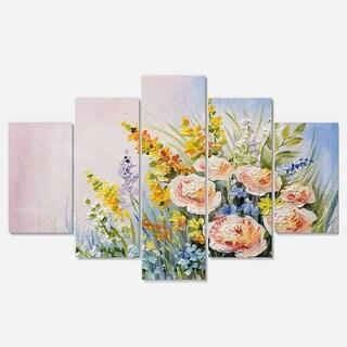 Designart 'Abstract Bouquet of Summer Flowers' Flower Glossy Metal Wall Art