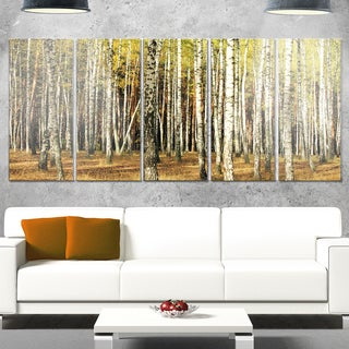 Designart 'Green Fall Forest with Thick Trees' Large Forest Glossy Metal Wall Art