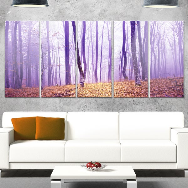 Designart 'Magenta Foggy Fairytale Forest' Large Forest Glossy Metal Wall Art