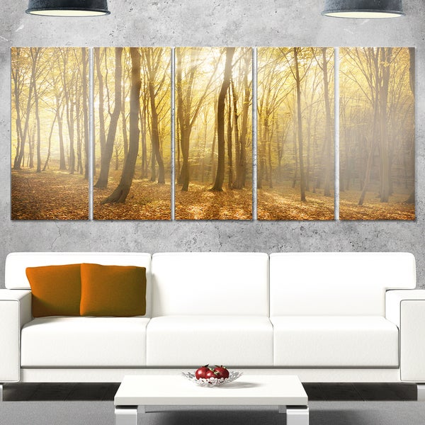 Designart 'Thick Green Fall Forest with Fog' Large Forest Glossy Metal Wall Art