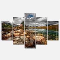 Designart 'Beautiful Clear Mountain Lake' Landscape Artwork Glossy Metal Wall Art