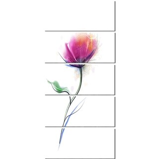 Designart 'Vector Watercolor Floral Design' Modern Floral Glossy Metal Wall Art