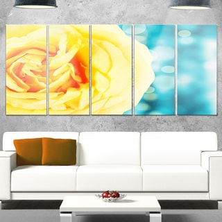 Designart 'Rose Flower with Lit-up Background' Large Floral Glossy Metal Wall Artwork