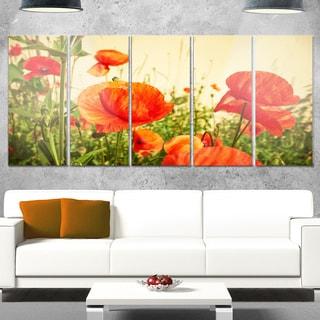 Designart 'Colorful Red Poppy Flower Field' Flower Glossy Metal Wall Art