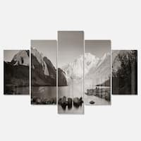 Designart 'Snow Mountain Lake Panorama' Large Landscape Glossy Metal Wall Art