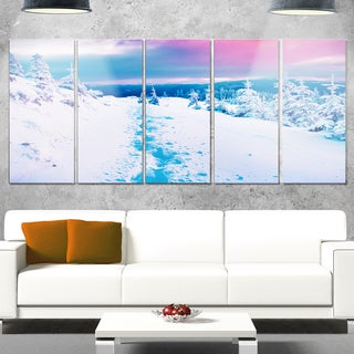 Designart 'Beautiful Sunrise over Winter Mountains' Large Landscape Art Glossy Metal Wall Art