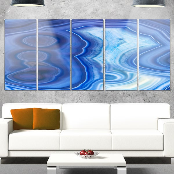 Designart 'Blue Agate Stone Design' Abstract Metal Wall Art