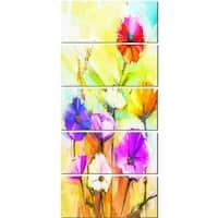 Designart 'Colorful Gerbera Flowers Painting' Large Floral Glossy Metal Wall Artwork