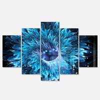Designart 'Blue Magical Wormhole Fractal' Large Abstract Glossy Metal Wall Art