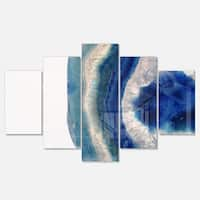 Designart 'Macro of Blue Agate Stone' Abstract Metal Wall Art