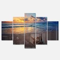 Designart 'Quiet Seashore during Sunset' Seashore Metal Wall Art on