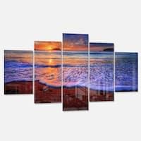 Designart 'Colorful Sunset Over Beautiful Shore' Seashore Metal Wall Art on